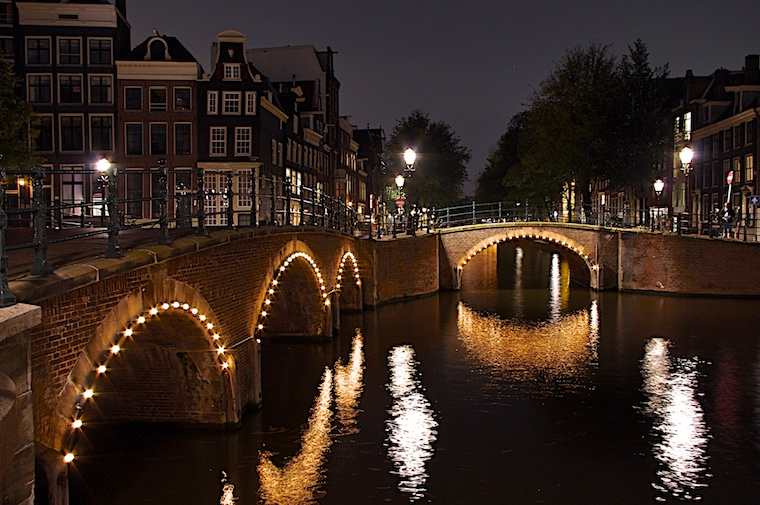 Amsterdam Bridges Herengracht Reguliersgracht at Nighttime